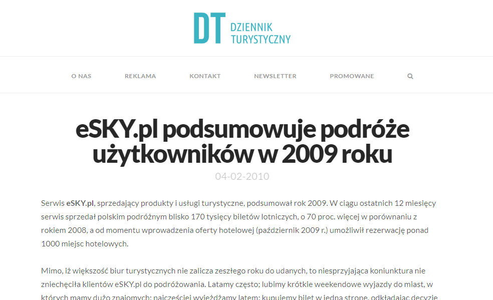 eSKY.pl podsumowuje podróże użytkowników w 2009 roku