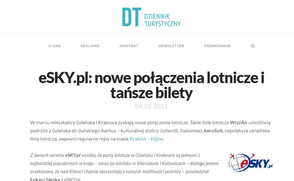 eSKY.pl: nowe połączenia lotnicze i tańsze bilety