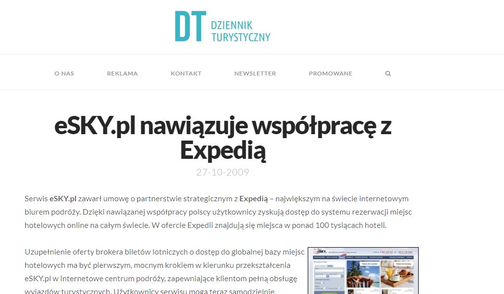 eSKY.pl nawiązuje współpracę z Expedią