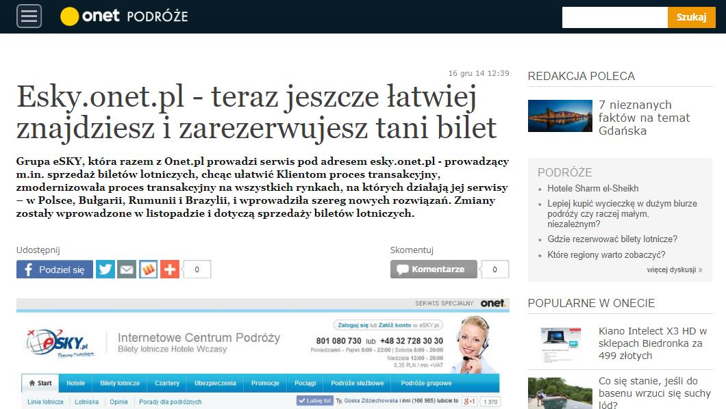 eSky.onet.pl - teraz jeszcze łatwiej znajdziesz i zarezerwujesz tani bilet