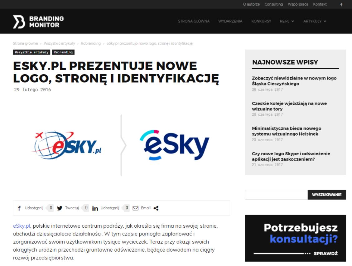 eSky.pl prezentuje nowe logo, stronę i identyfikację