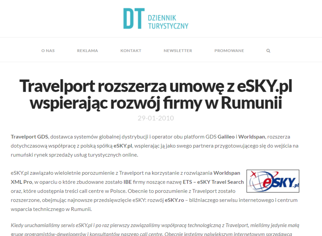 Travelport rozszerza umowę z eSKY.pl wspierając rozwój firmy w Rumunii