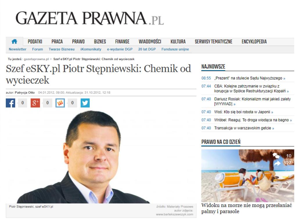 Szef eSKY.pl Piotr Stępniewski: Chemik od wycieczek