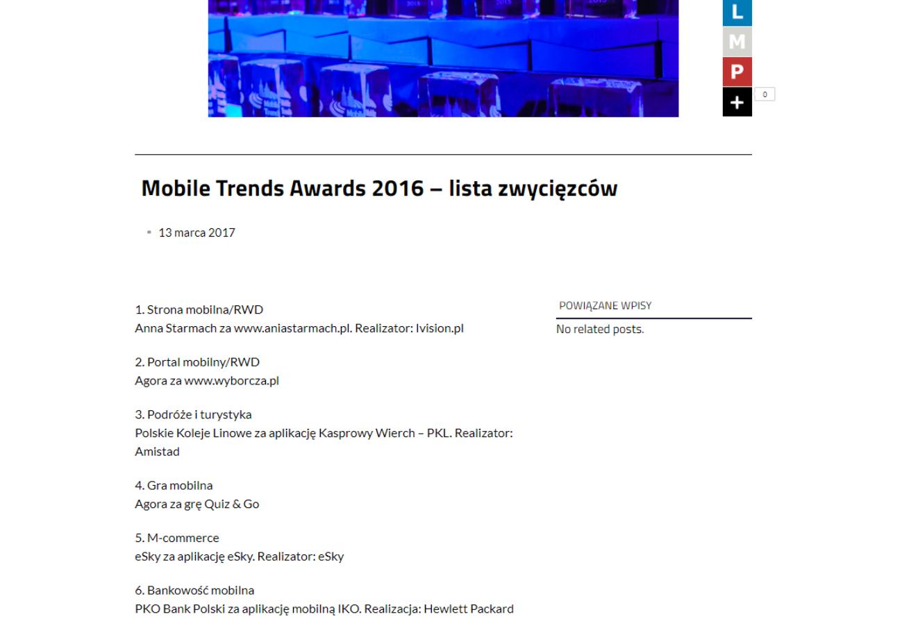 Mobile Trends Awards 2016 – lista zwycięzców