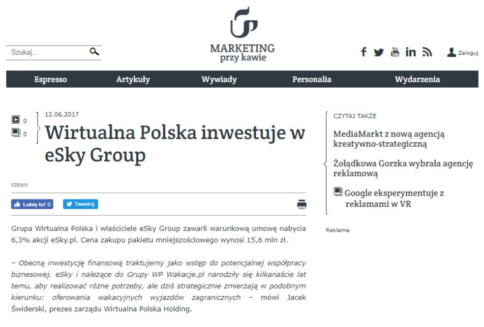 Wirtualna Polska inwestuje w eSky Group