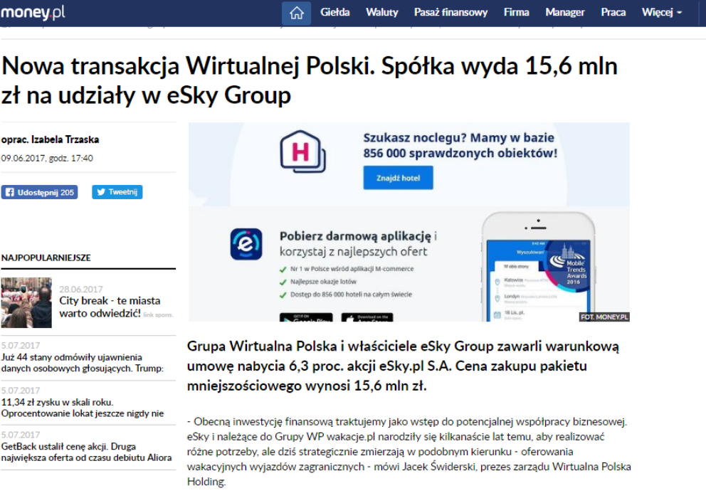 Nowa transakcja Wirtualnej Polski. Spółka wyda 15,6 mln zł na udziały w eSky Group