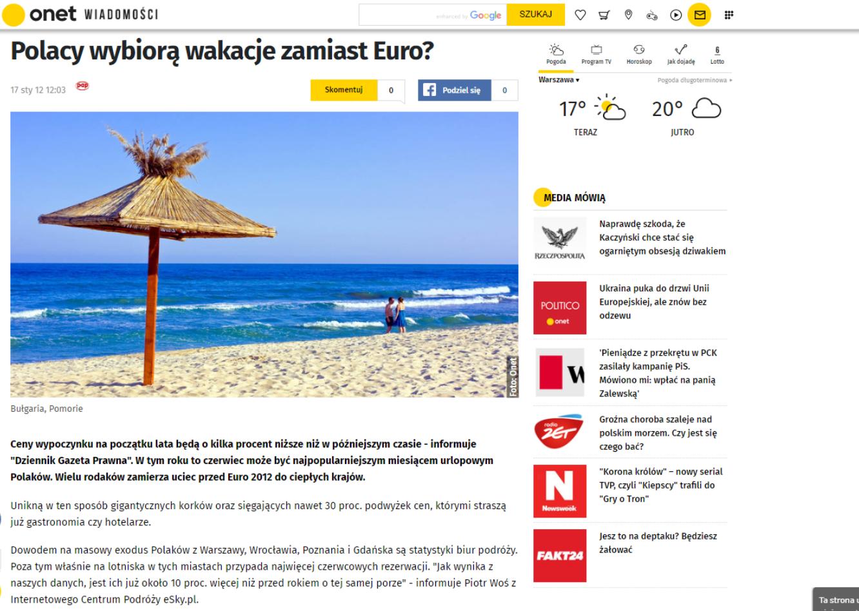 Polacy wybiorą wakacje zamiast Euro?