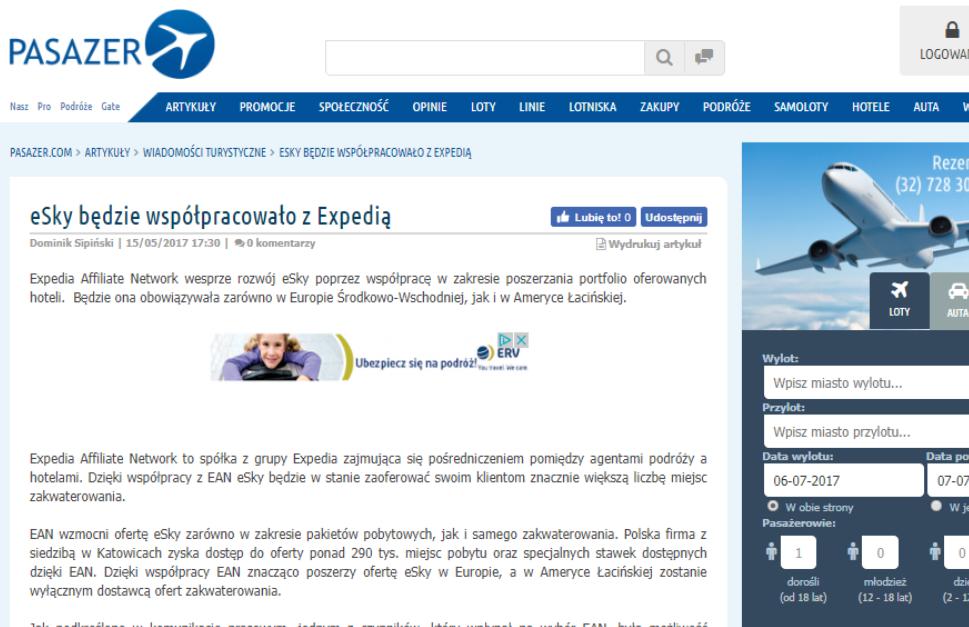 eSky będzie współpracowało z Expedią