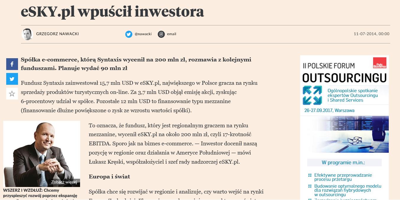 eSKY.pl wpuścił inwestora