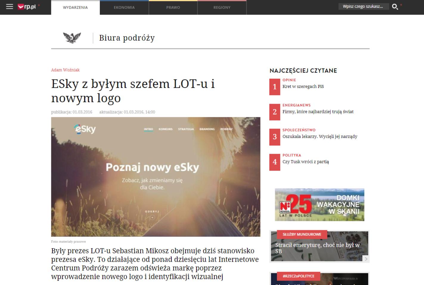 eSky z byłym szefem LOT-u i nowym logo
