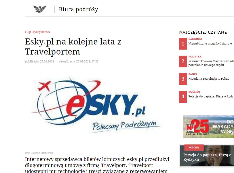 Esky.pl na kolejne lata z Travelportem
