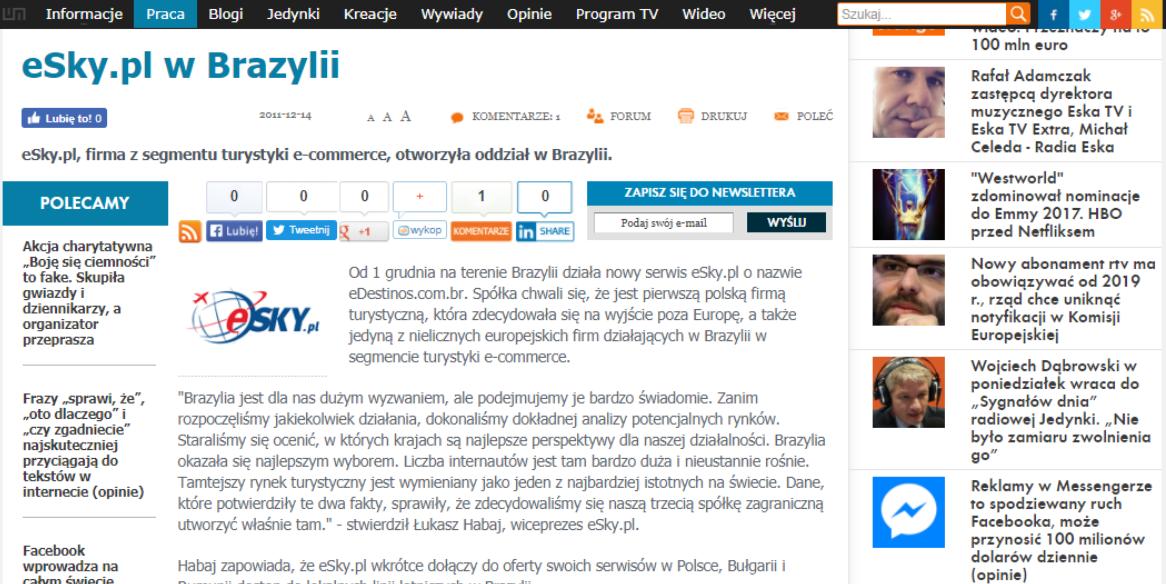 eSky.pl w Brazylii