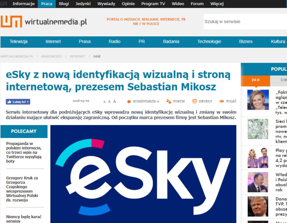 eSky z nową identyfikacją wizualną i stroną internetową, prezesem Sebastian Mikosz