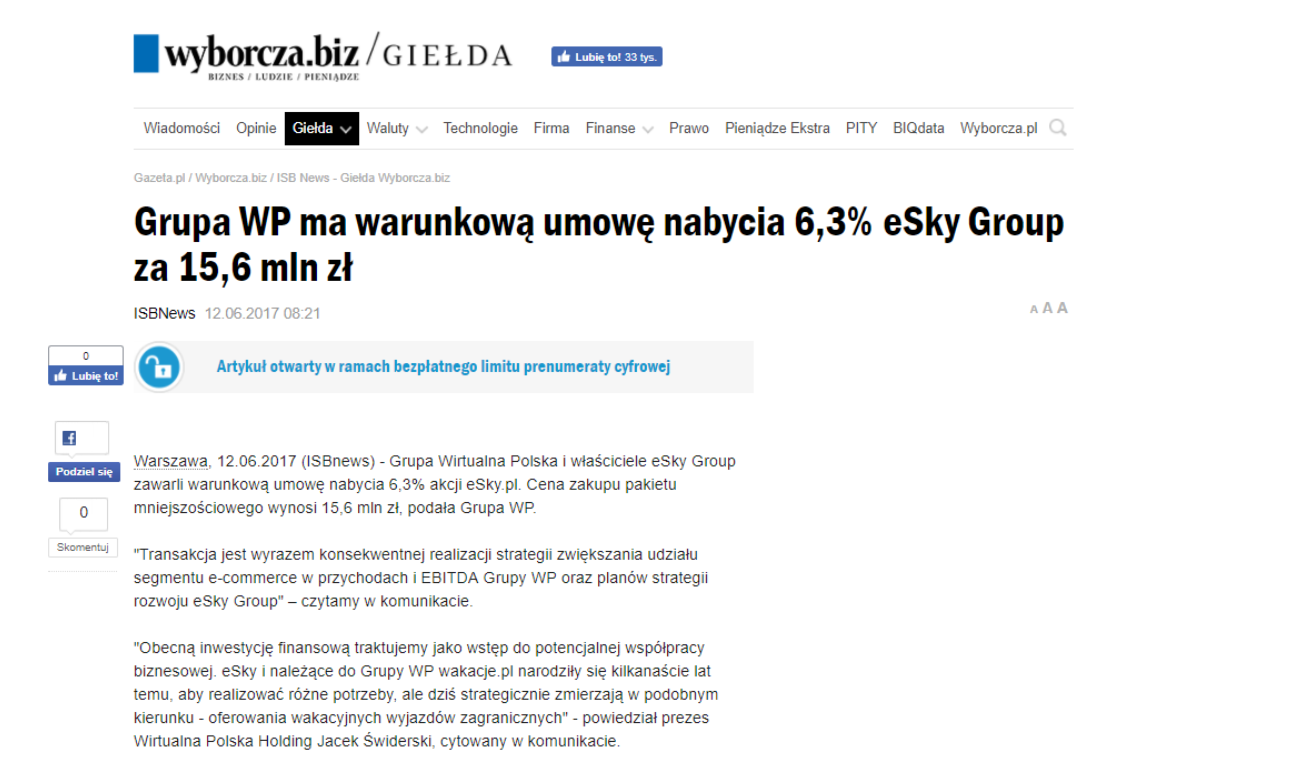 Grupa WP ma warunkową umowę nabycia 6,3% eSky Group za 15,6 mln zł