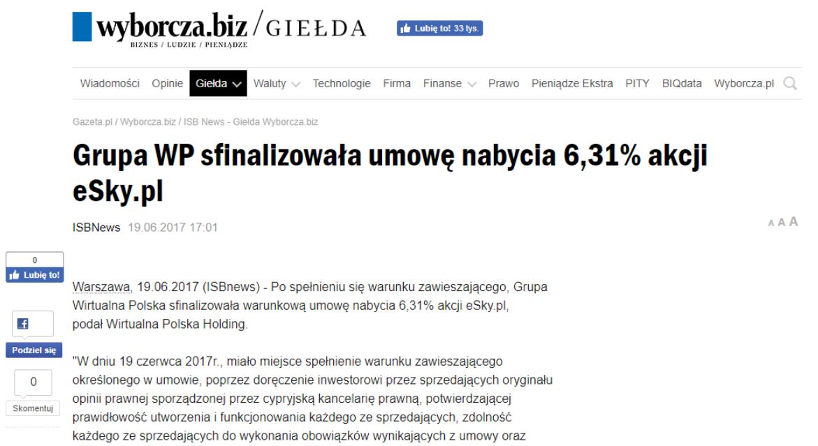 Grupa WP sfinalizowała umowę nabycia 6,31% akcji eSky.pl