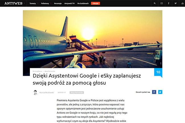Dzięki Asystentowi Google i eSky zaplanujesz swoją podróż za pomocą głosu