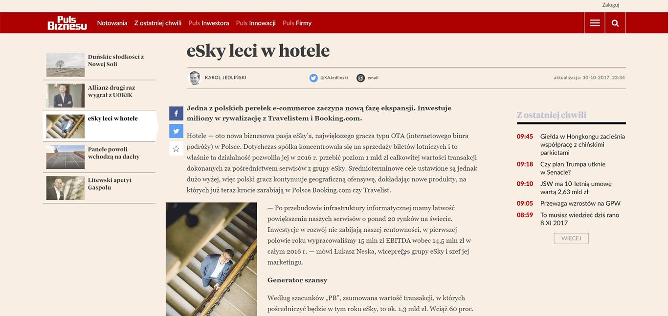 eSky leci w hotele
